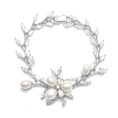 Isla Wedding Bracelet: Freshwater Pearls & CZ (Petite Size)