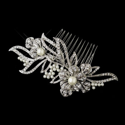 Astor Bridal Comb: Crystal & Pearl Comb with Antique Finish