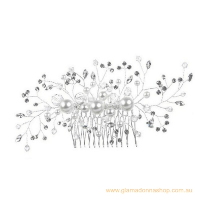 Ellen Bridal Hair Comb: Wired Pearls & Crystal