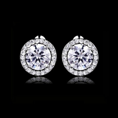 Sabrina Bridal Earring: Sparkling Stud with Halo