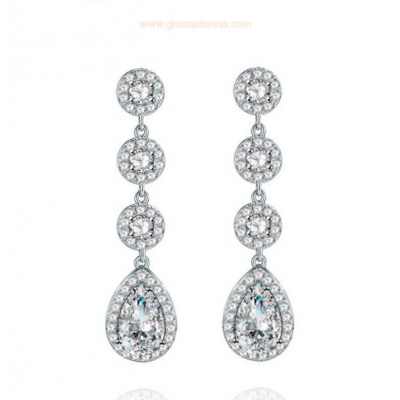 Dylan Wedding Earring: Classic Solitaire Drop Earring