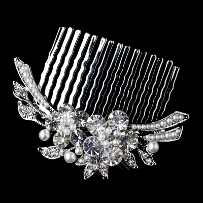 Anita Wedding Comb: Vintage Crystal & Pearl Bouquet