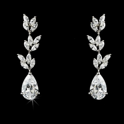 Rosa Wedding Earring : Baby Leaves Teardrop CZ Earring