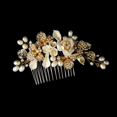 Audriana Bridal Headpiece: Bridal Comb with Flowers & Freshwater Pearls (Gold)