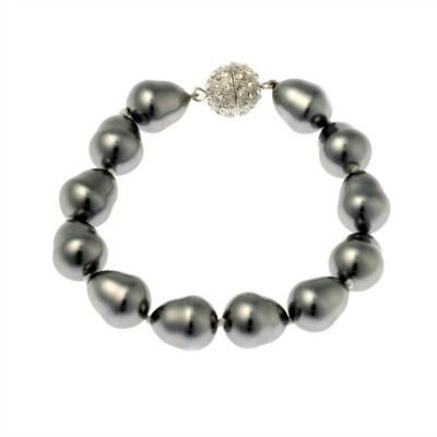Piper Pearl Bracelet with Sparkly Ball Clasp - Large Pearl