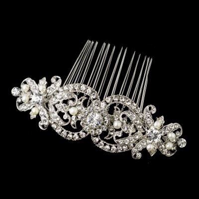 Beatrix Wedding Hair Comb: Intricate Vintage Crystal & Pearl