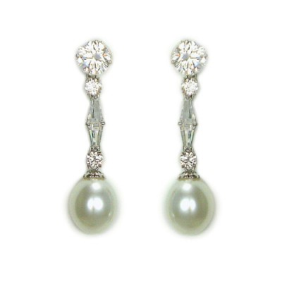 Anja Bridal Earring: Sterling Silver & Pearl Luxe Drop