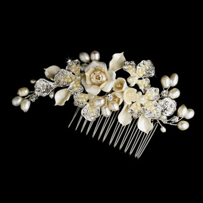 Audriana Wedding Comb: Ivory Flowers and Freshwater Pearls