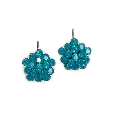 Swarovski Crystal Cluster Earring - Carribean Blue