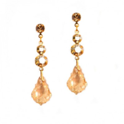 Archie Swarovski Crystal Bridal Earrings (Gold)