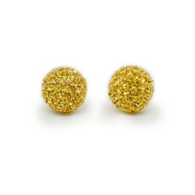 Swarovski Crystal Encrusted Ball Earring (Gold)