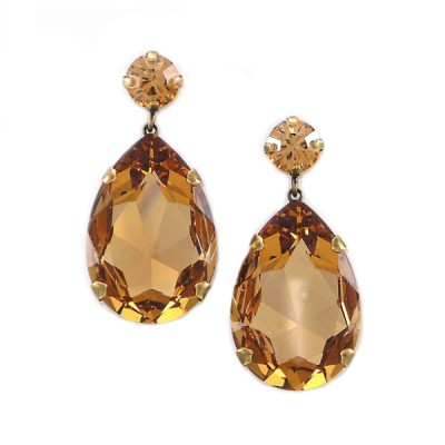 Bijoux Statement Earring: Swarovski Crystal - Dark Gold