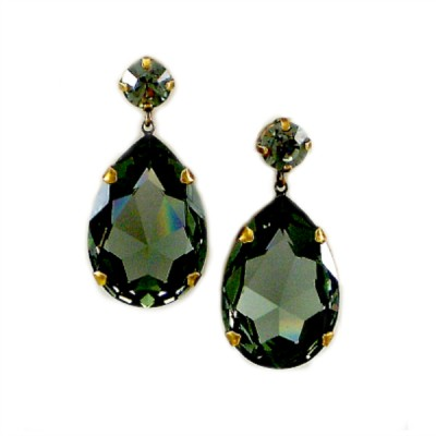 Bijoux Statement Earring: Swarovski Crystal - Olive Grey