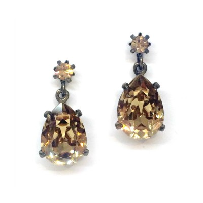 Alice Swarovski Crystal Bridesmaid Earring - Rich Gold