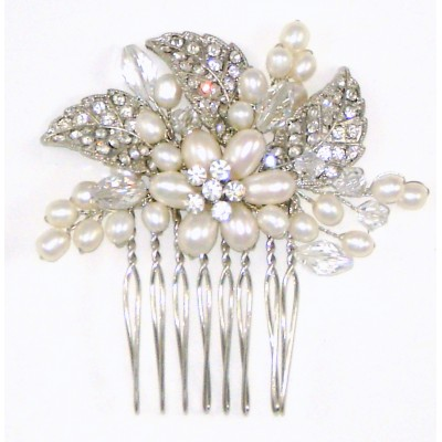 Willow Bridal Comb : Vintage Freshwater Pearl & Crystals