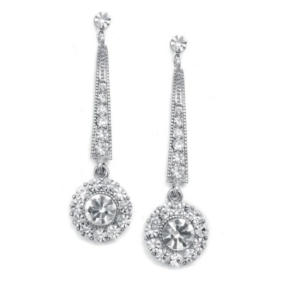 Gwen Bridal Earring: Classic Art Deco Crystal Solitaire