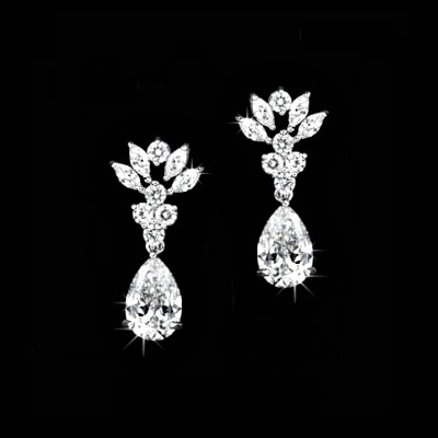 Holly Bridal Earring: Chic Vintage Cubic Zirconia Drop
