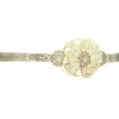 Fleur Bridal Belt: Beaded Ivory Wedding Sash with Flower