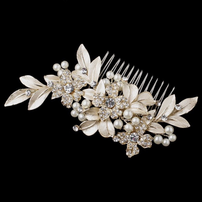 e8622e4d0 Madden Luxury Headpiece: Brushed Leaves, Crystals & Pearls (Champagne)