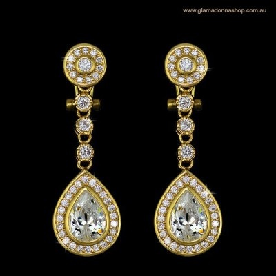 Crystelle Wedding Earring: Classic Drop Teardrop (GOLD)
