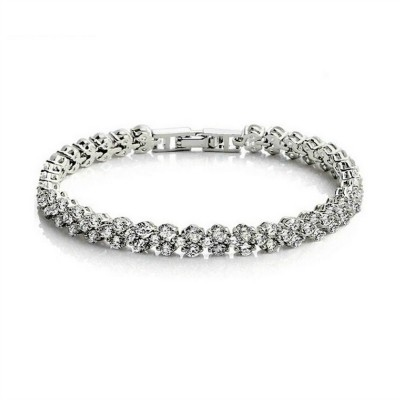Daphne Bridal Bracelet: Sparkling Three Row (Petite)