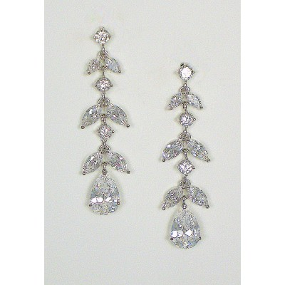 Dita Bridal Earring : Vintage/Retro Tiered Leaf & Teardrop CZ