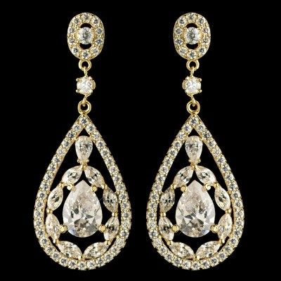 Penelope Bridal Earring: Premium Luxury Teardrop (Gold)