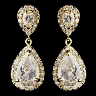 Jasmine Wedding Earring: Chic & Classic Teardrop (Gold)