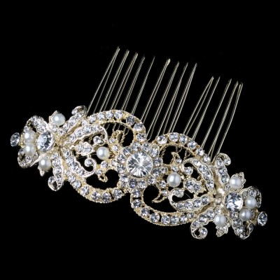 Beatrix Wedding Hair Comb: Vintage Crystal & Pearl (GOLD)