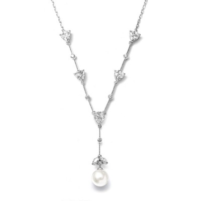 Iris Bridal Necklace: Delicate Pearl Pendant