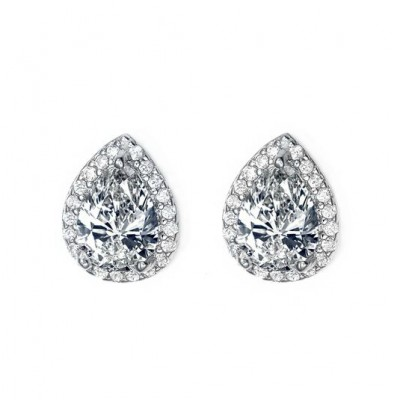 Xrissa Bridal Earring: Petite Teardrop with Halo Frame
