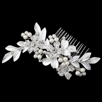 Madden Luxury Headpiece: Brushed Leaves, Crystals & Pearls