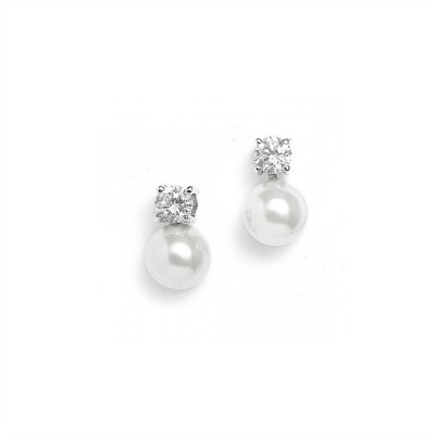 Classic Cubic Zirconia & Pearl Solitaire Earring