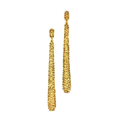 Statement Drop Earring - Sparkling Gold Crystal