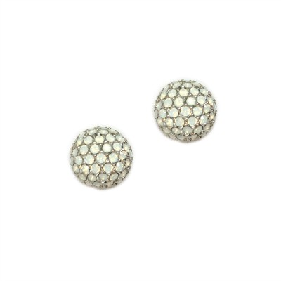 Swarovski Crystal Encrusted Ball Earring (White Opal)