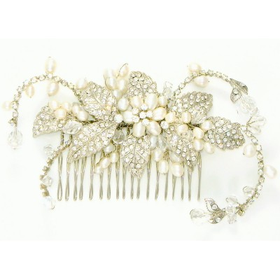 Arianna Wedding Comb: Stunning Freshwater Pearls & Crystals