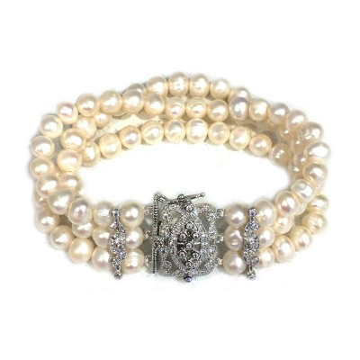 Carmen Wedding Bracelet: Freshwater Pearls with Heirloom Feature