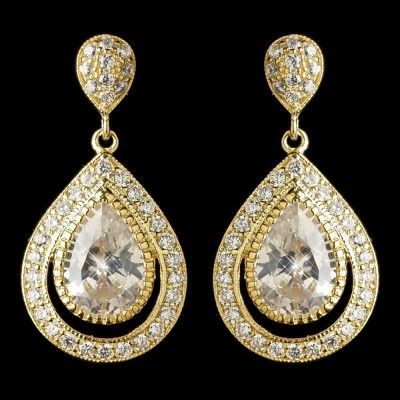 Delphine Wedding Earring: Classic Teardrop (Gold)
