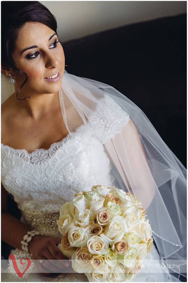 Bridal headpiece and wedding earrings as seen on Janelle Oliveira