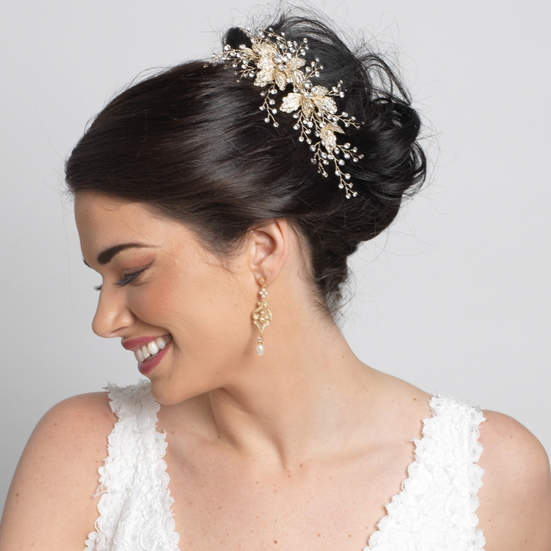 vintage bridal jewellery gold headpiece